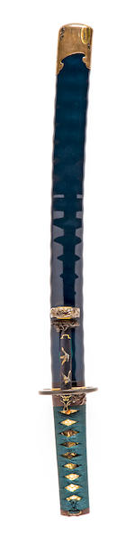 A Yoshindo wakizashi in rare blue-lacquer mounts Blade by Yoshihara Yoshindo (b. 1943), kojiri by the studio of Kano Natsuo(1828-1898)