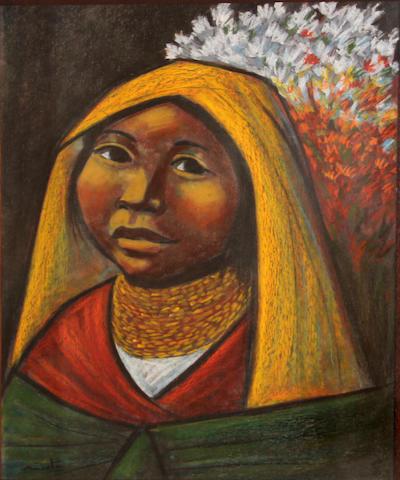 Arturo, Nieto, Untitled (yellow head drape), pastel