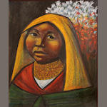 Arturo, Nieto, Untitled (yellow head drape), pastel