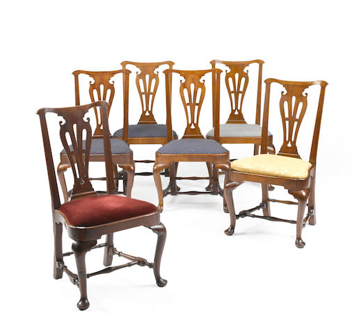 A fine set of six Queen Anne walnut compass seat side chairs, Newport or Providence, Rhode Island; 3rd qtr 18th century