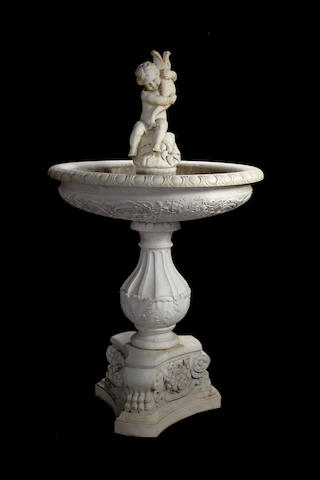 An Italian Renaissance style carved white marble fountain<BR /> late 19th/early 20th century
