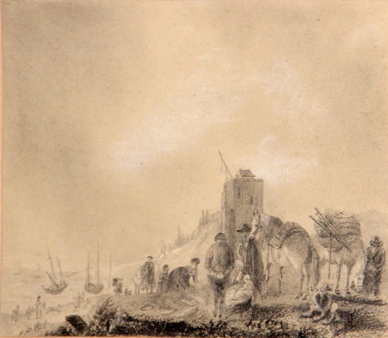 Dutch School, * Crispian * Figures and horses near the seashore, pencil