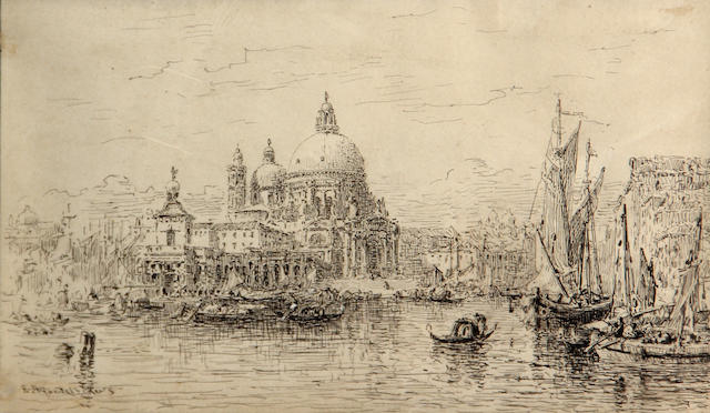 Edward Angelo Goodall, RWS (British 1819-1908) A view of Santa Maria della Salute, Venice 5 x 8 3/4in