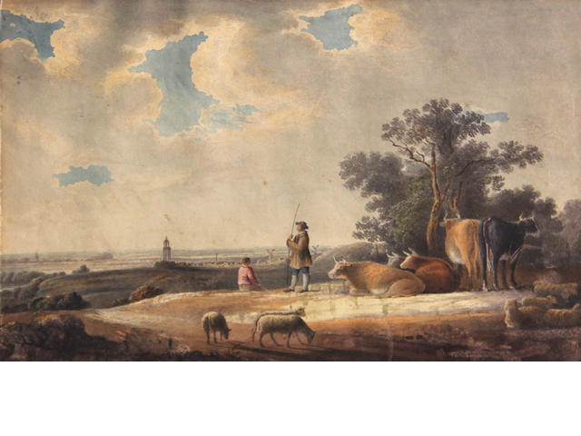 Dutch School, early 19th, Landscape with drover and cattle and sheep, wc