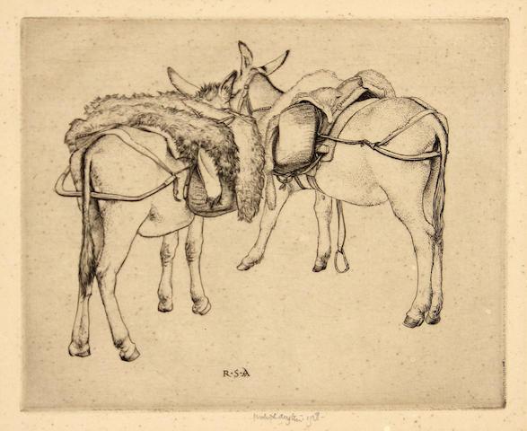 Robert Sargent Austin (British, 1895-1973); Donkeys of Selva (Island of Majorca);
