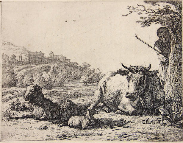 Karel Dujardin (Amsterdam circa 1622-1678 Venice); **bookplate Der Hirte hinter dem Baum (Pastoral with shepherd behind a tree);