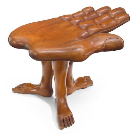 Pedro Friedeberg (Mexican, born 1937) Hand Foot Stool, late 1970s