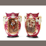 A pair of Continental porcelain transfer print decorated vases