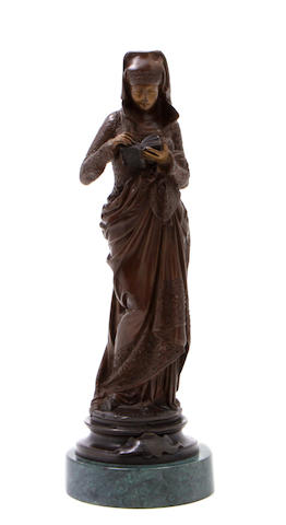 A French patinated bronze: Liseuse