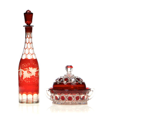 A Bohemain glass decanter with stopper and covered bowl