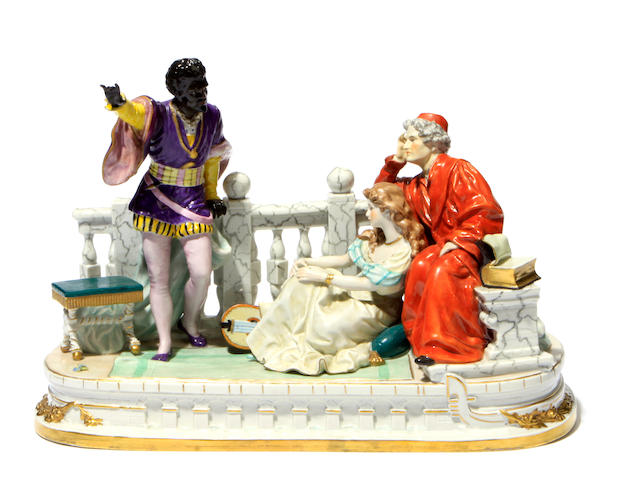 A German porcelain figural group: Othello