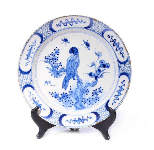A Dutch blue and white tin glaze charger
