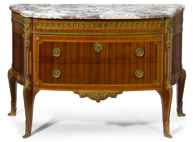 A Louis XV/XVI transitional style gilt bronze mounted inlaid mahogany commode  Paul Sormani late 19th century