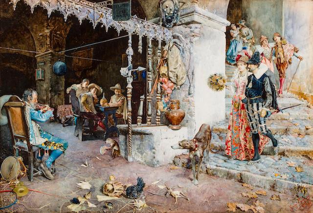 Giuseppe Signorini (Italian, 1857-1932) Elegant company in a tavern 28 x 41 3/4in (71 x 106cm)