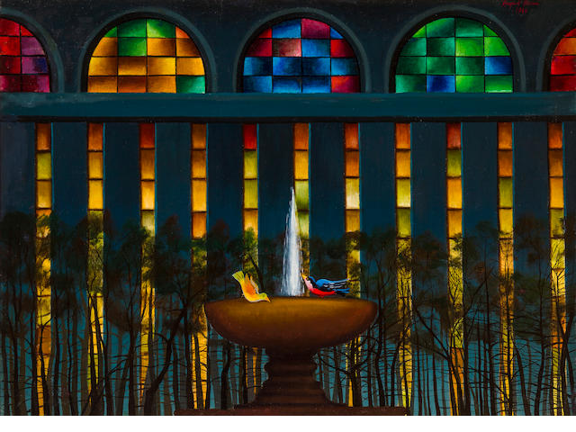 August Mosca, Fountain in Bryant Park, 1941, oil on canvas, 30 x 43in, signed and dated upper right