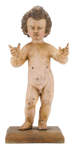 A Spanish Renaissance polychrome carved figure of the Infant Christ  circle of Juan Martínez Montañés  (1568-1649) early 17th century