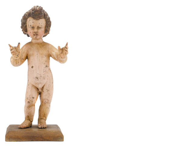 A Spanish Renaissance polychrome carved figure of the Infant Christ <BR />circle of Juan Martínez Montañés  (1568-1649)<BR />early 17th century