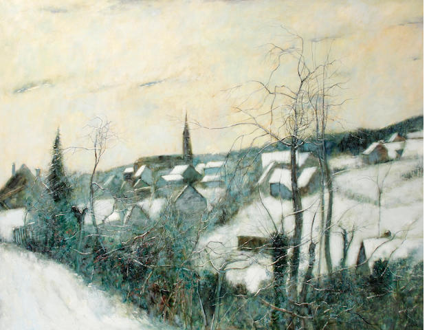 Bernard Gantner (French, born 1928), ESTIMATE NEEDS TO BE RE-EXAMINED Winter landscape, 44 ½ x 57