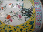 A yellow ground enameled porcelain jardinière  Late Qing/Republic period