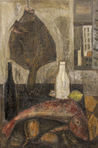 Raymond Guerrier (French, 1920-2002) Fish and Bottles 57 x 38in