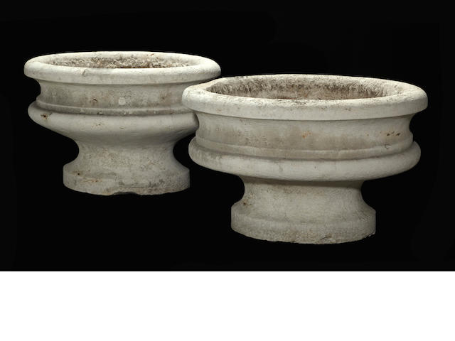 A pair of Neoclassical stone oval jardinières<BR />late 18th/early 19th century