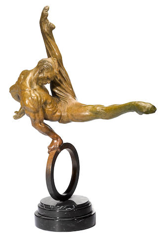 An American contemporary patinated bronze figure: Flair Across America: The Gymnast <BR />Richard MacDonald (American, born 1946)<BR />1995, second state, #69/175