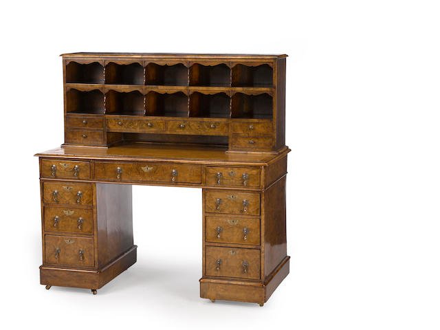 A Victorian burl walnut kneehole desk<BR />third quarter 19th century