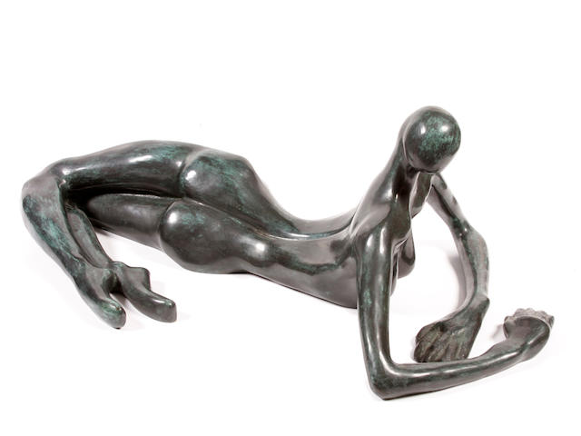 Attributed to Carol Miller (American, born 1933) Reclining Female Figure 15 x 45 x 23in