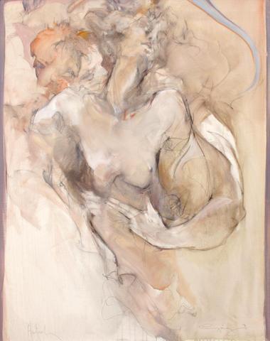 Jürgen Görg (German, born 1951) Female Nude, 1990; Couple Embracing, 1990 (2) each 38 1/4 x 30 1/2in