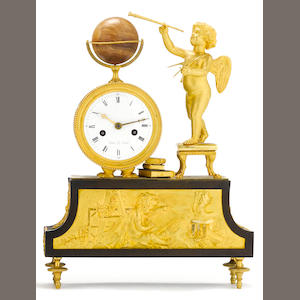 An Empire gilt and patinated bronze figural mantel clock emblematic of Arts and Sciences . dial signed Dubuc Le Jeune. early 19th century