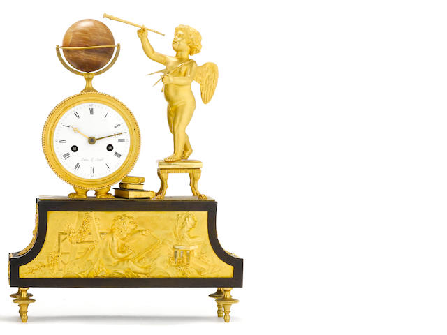 An Empire gilt and patinated bronze figural mantel clock emblematic of Arts and Sciences <BR />dial signed Dubuc Le Jeune<BR />early 19th century