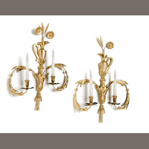 A Pair of Neoclassical Style Two-Light Wall Appliques   mid 20th Century