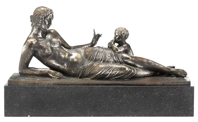 A French silvered bronze group of a Bacchante and faun<BR />Joseph Jules Emmanuel Cormier (French, 1869 - 1955)<BR />F. Barbedienne foundry, Paris<BR />first quarter 20th century