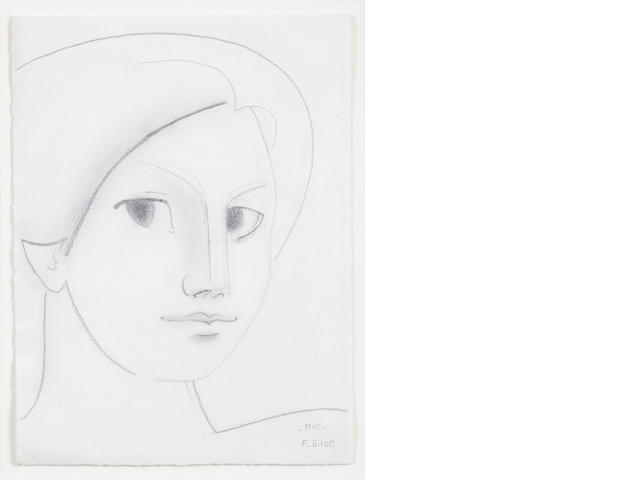 Françoise Gilot (French, born 1921) Head of a Woman, 1945 16 x 12in