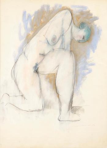 Hans Burkhardt (Swiss/American, 1904-1994) Kneeling figure, 1963 24 x 18in