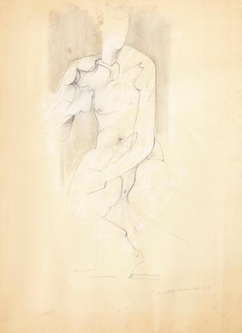 Hans Burkhardt (Swiss/American, 1904-1994) Sitting figure, 1964 24 x 18in
