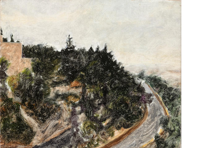 Avigdor Arikha, Mount Zion on an Autumn Morning, 1981, o/c, signed and dated, 15 x 19 1/2