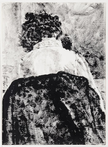 Avigdor Arikha, Anne Seated Backwards (Anne de Dos), sumi ink drawing, 13 x 10