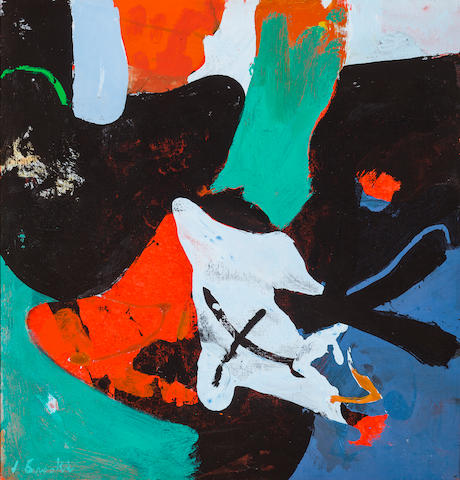 James Brooks, Hone, 1973, acrylic on canvas, signed, titled, dated verso, 22 x 21in.