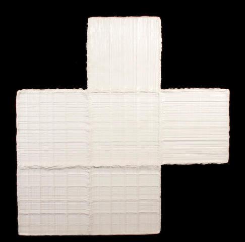 Wess Dahlberg, Titanium White, 1990, acrylic on shaped panel, irregular, 60 x 60in