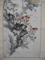 Attributed to Wang Xuetao (1903-1982)  Two hanging scrolls of Birds and Flowers