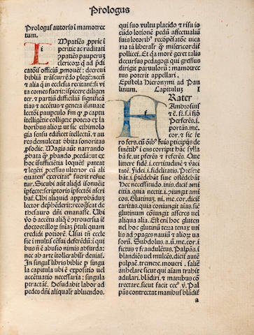 MARCHESINUS, JOANNES. Late 13th/early 14th c. Mammotrectus super Bibliam. Venice: Nicolaus Jenson, September 23, 1479.<BR />