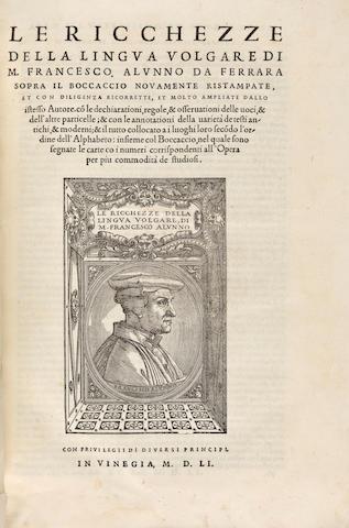 ALUNNO, FRANCESCO. c.1480-1556. Le Ricchezze della lingua volgare.... Venice: Sons of Aldus Manutius, 1551.