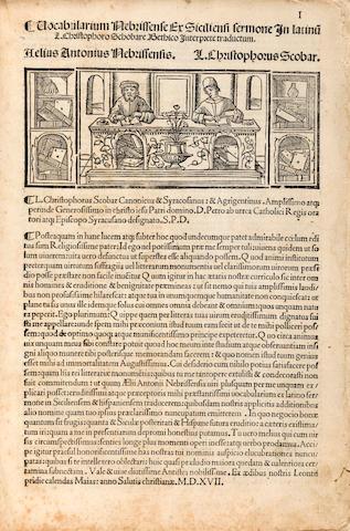 NEBRIJA, ELIO ANTONIA DE. Vocabularium Nebrissense ex Siciliensi sermone in Latinum ... traductum. Venice: Bernardinus Benalius, for Dominicus di Nesi, June 1, 1519.<BR />