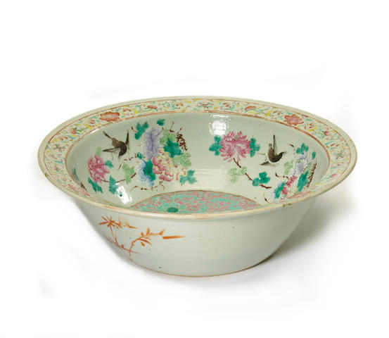 A Chinese famille rose enameled porcelain wash basin Late Qing/Republic period