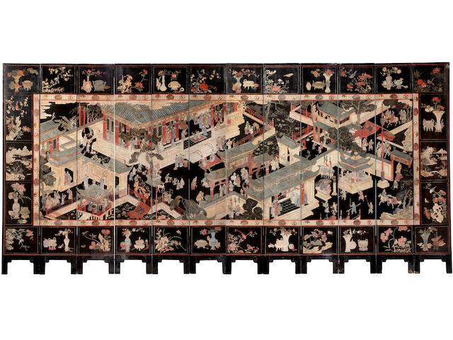 A fine Chinese twelve panel coromandel screen 18th century