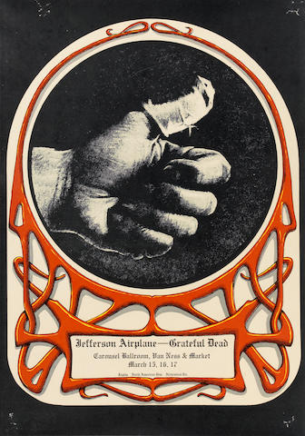 GREATFUL DEAD/ JEFFERSON AIRPLANE 1968 SORE THUMB POSTER