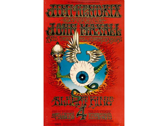 "A Jimi Hendrix ""Flying Eyeball"" concert poster"