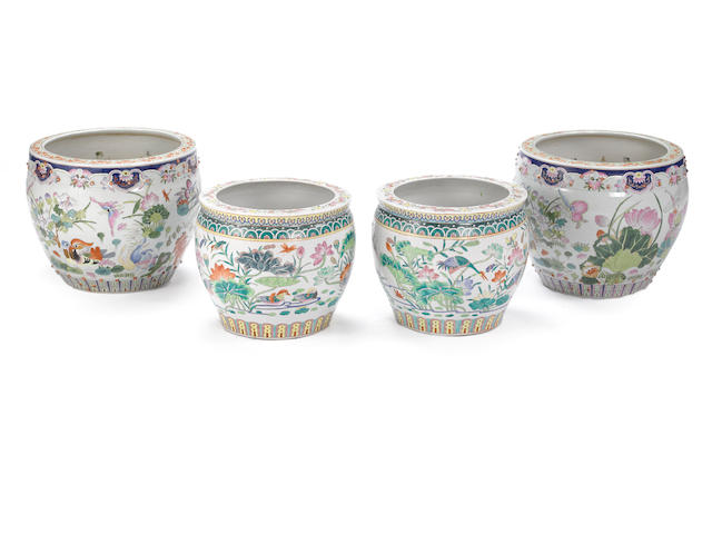 An assembled grouping of three Chinese polychrome enameled porcelain jardinières  20th century