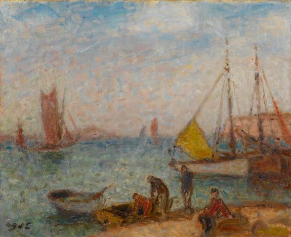 Georges D'Espagnat (1870-1950) Thonniers à Saint-Gilles, Croix de Vié 19 1/2 x 24in. (49.5 x 61cm)